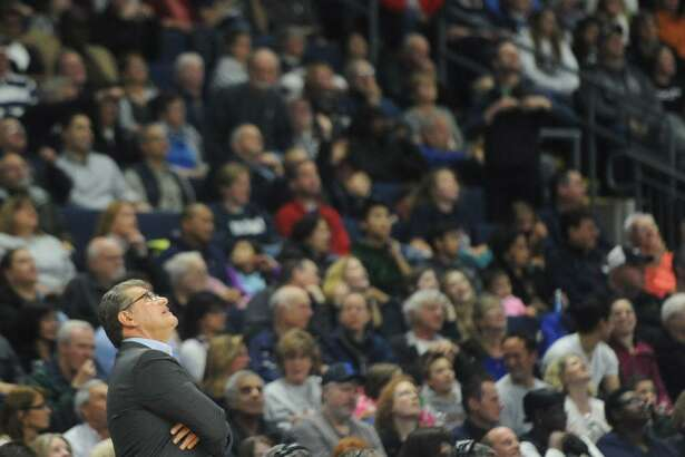 UConn coach Geno Auriemma looks at the scoreboard during No. 1 UConn's 86-71 win over No. 4 UCLA on Saturday in the Bridgeport Regional at Webster Bank Arena.