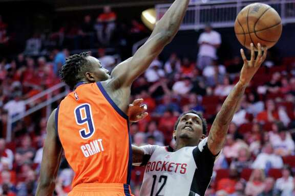 Jerami Grant (9) and OKC had their hands full with the Rockets' Lou Williams on Sunday. Williams had 31 points in 31 minutes, the 10th time this season he's had at least a point per minute on the floor.