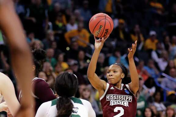 Mississippi State's Morgan William (2) was on target Sunday against Baylor, making 13 of 22 shots, including six of eight 3-pointers, on her way to scoring a career-high 41 points. William also shot 9-of-10 at the free-throw line.