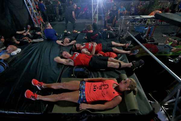 American Ninja Warrior San Antonio competitors relax backstage Sunday March 26, 2017.