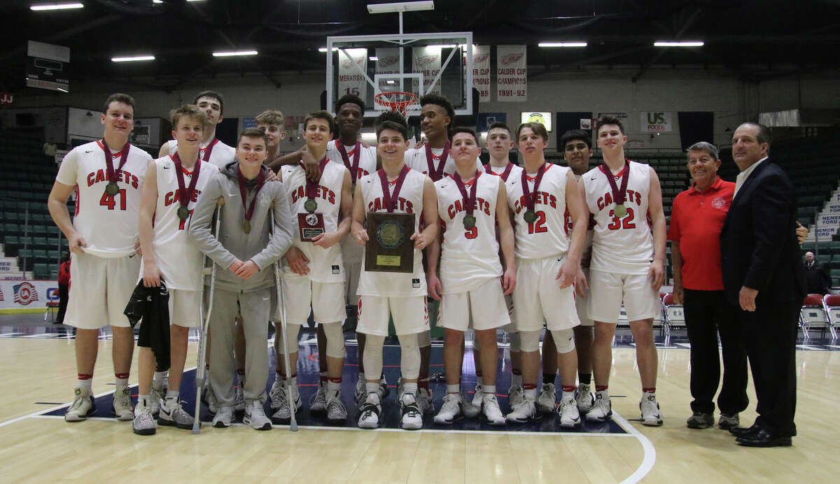 Albany Academy assembles for a team photo after their 76-46 victory over Walton High School in the Class A Federation basketball final at the Glens Falls Civic Center Sunday, March 26, 2017. (Ed Burke-Special to The Times Union)