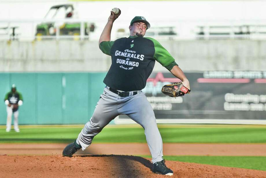 Starting pitcher Jon Sintes and Durango won the inaugural 2017 Sister Cities Baseball Classic Tournament championship 3-2 over Vaqueros Unión Laguna Sunday, redeeming an 11-10 loss Thursday in Nuevo Laredo earlier in the tournament. Sintes allowed two runs on five hits over five innings of work. Photo: Danny Zaragoza /Laredo Morning Times / LAREDO MORNING TIMES