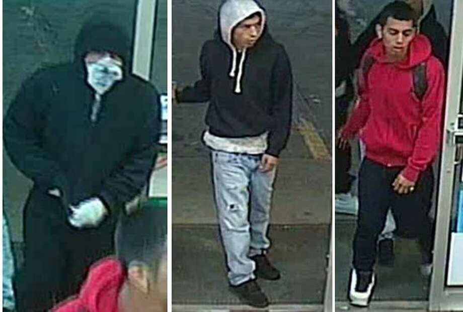 The three suspects allegedly stole money from the cash register of a 7-Eleven in the 2100 block of Southwest Military Drive around 2:30 a.m. on March 15, 2017. Photo: Crime Stoppers