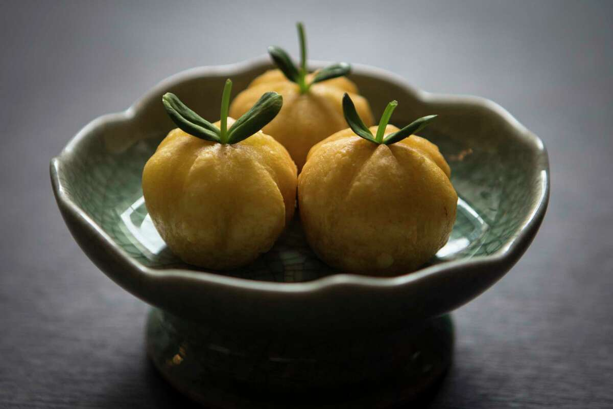Roasted duck pumpkin puff is on the dim sum menu at Yauatcha, the new Chinese dim sum teahouse at the Galleria.