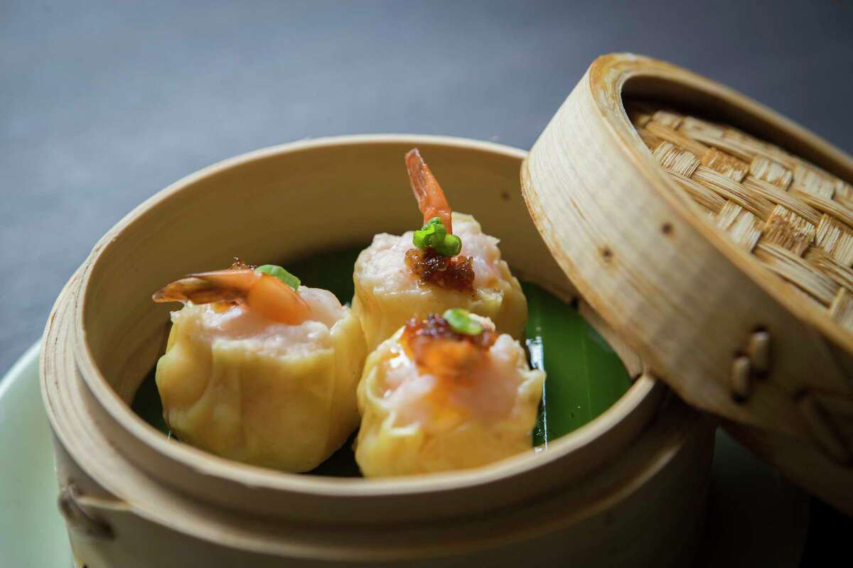 Phoenix tail shrimp shui mai is on the steamed dim sum menu at Yauatcha, the new Chinese dim sum teahouse at the Galleria opening March 29.