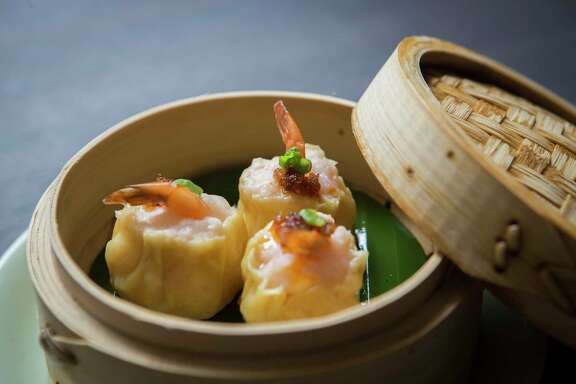 Phoenix tail shrimp shui mai is on the steamed dim sum menu at Yauatcha, the new Chinese dim sum teahouse at the Galleria. Friday, March 24, 2017, in Houston.
