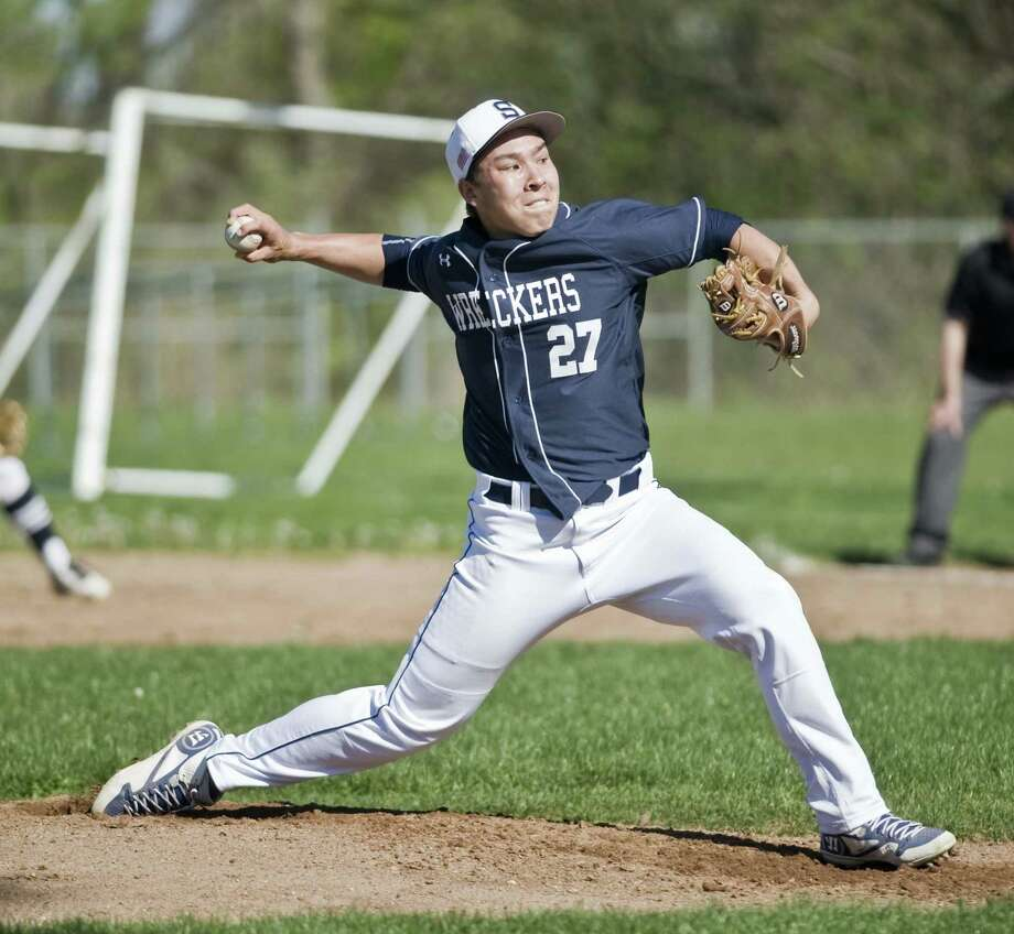 Staple High School pitcher Chad Knight delivering the ball in a game against Brien McMahon High School, played at McMahon. Wednesday, April 27, 2016 Photo: Scott Mullin / For The / The News-Times Freelance