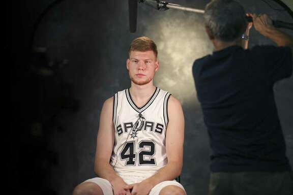 Davis Bertans meets the media before the start of the 2016-17 season.