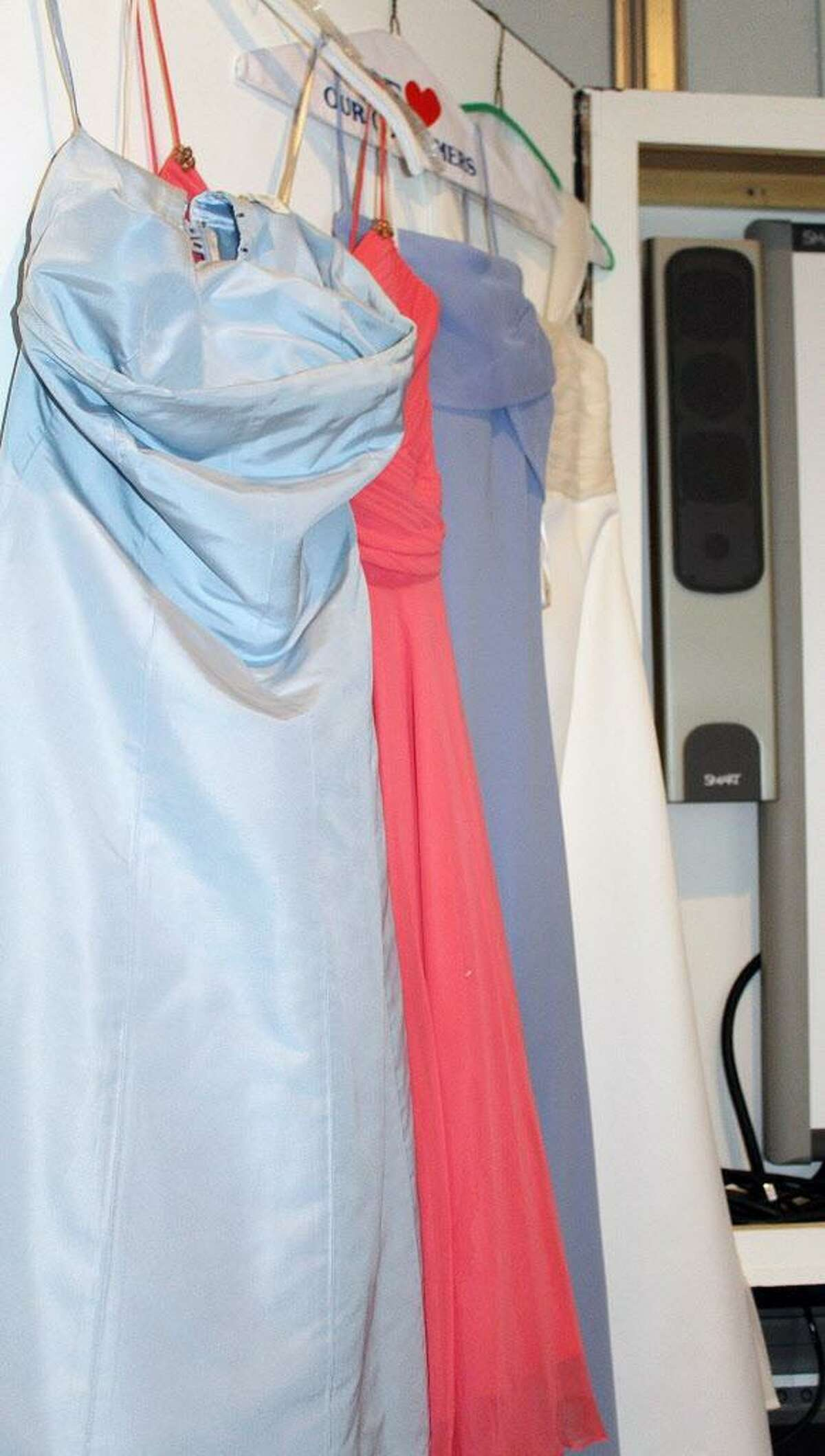 Some of the dresses donated during a prom dress/accessories drive at the youth depot in Darien, CT on Jan. 14, 2017.