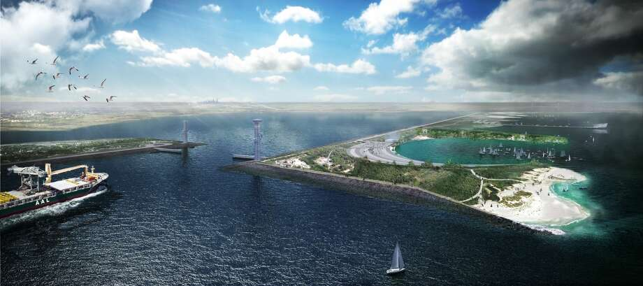 Rogers Partners is proposing a comprehensive strategy that would protect Galveston Bay from storm surge and provide new recreational spaces. Photo: Rogers Partners