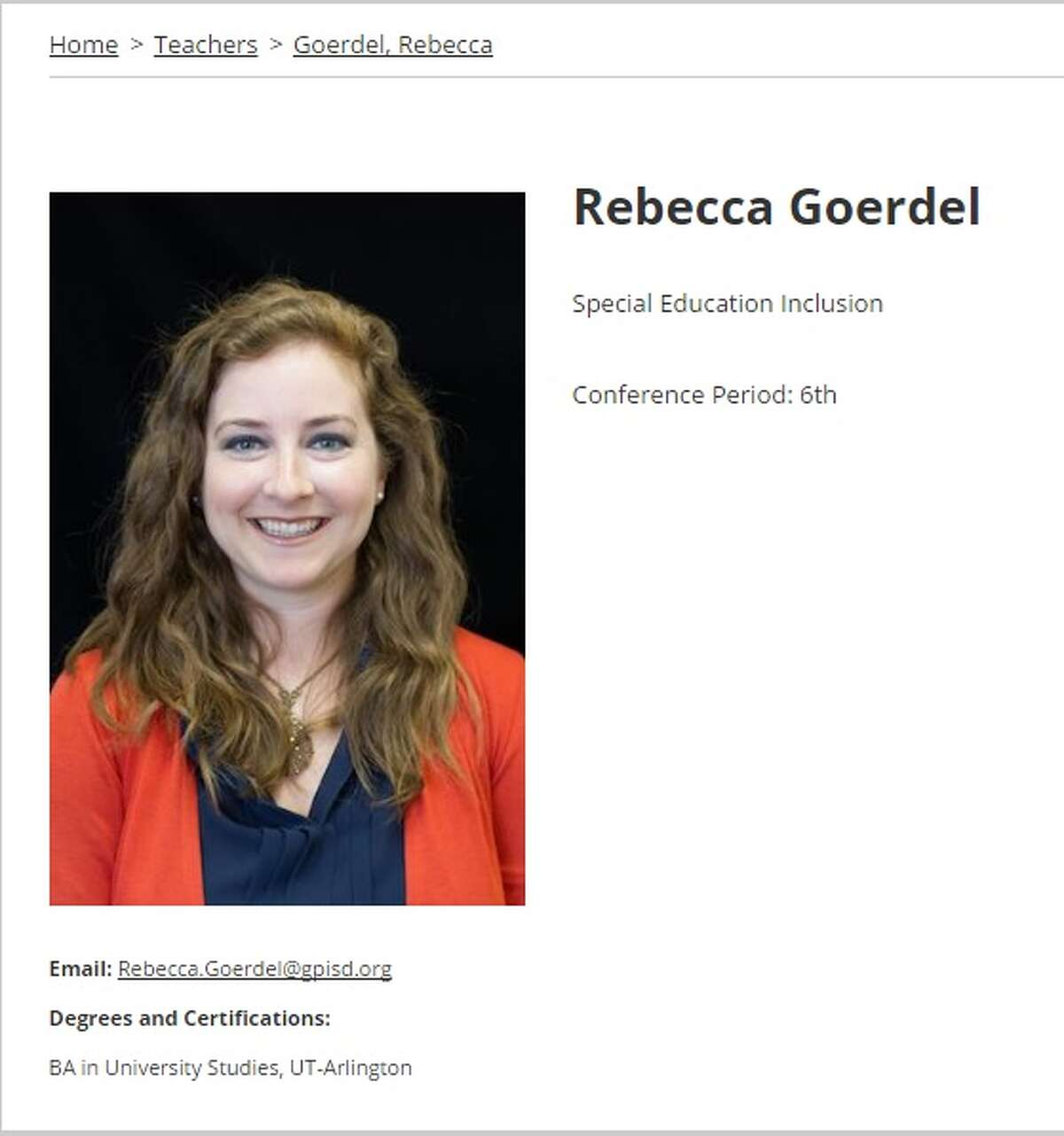 Rebecca Goerdel was arrested March 24, 2017 for allegedly participating in an improper relationship with a student in Grand Prairie Independent School District.