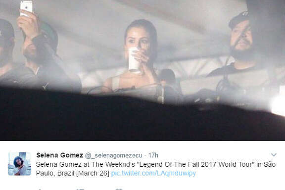 Selena Gomez and her boyfriend The Weeknd were swarmed by fans in Brazil during the Lalapalooza Brazil.   Source:  Twitter