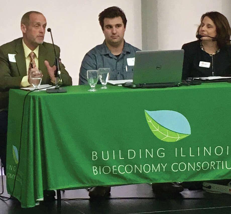 Panelists at the Building Illinois Bioeconomy consortium are, from left, Matt Jones, Alex Bradley and Melissa Erker. Photo: Steve Horrell • Intelligencer