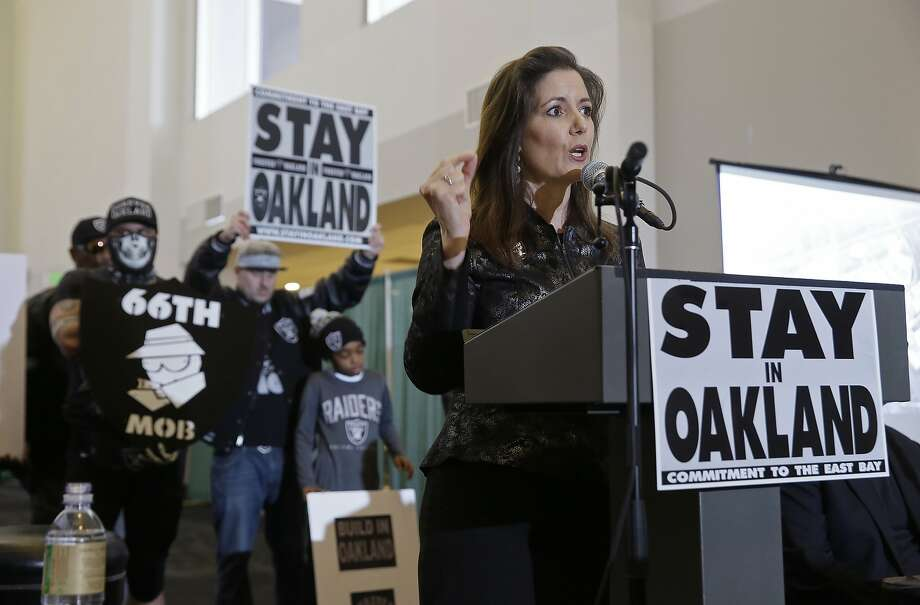 Oakland Mayor Libby Schaaf, shown at a March 25 rally to keep the Raiders from moving, is seeking a second term. Photo: Eric Risberg, Associated Press