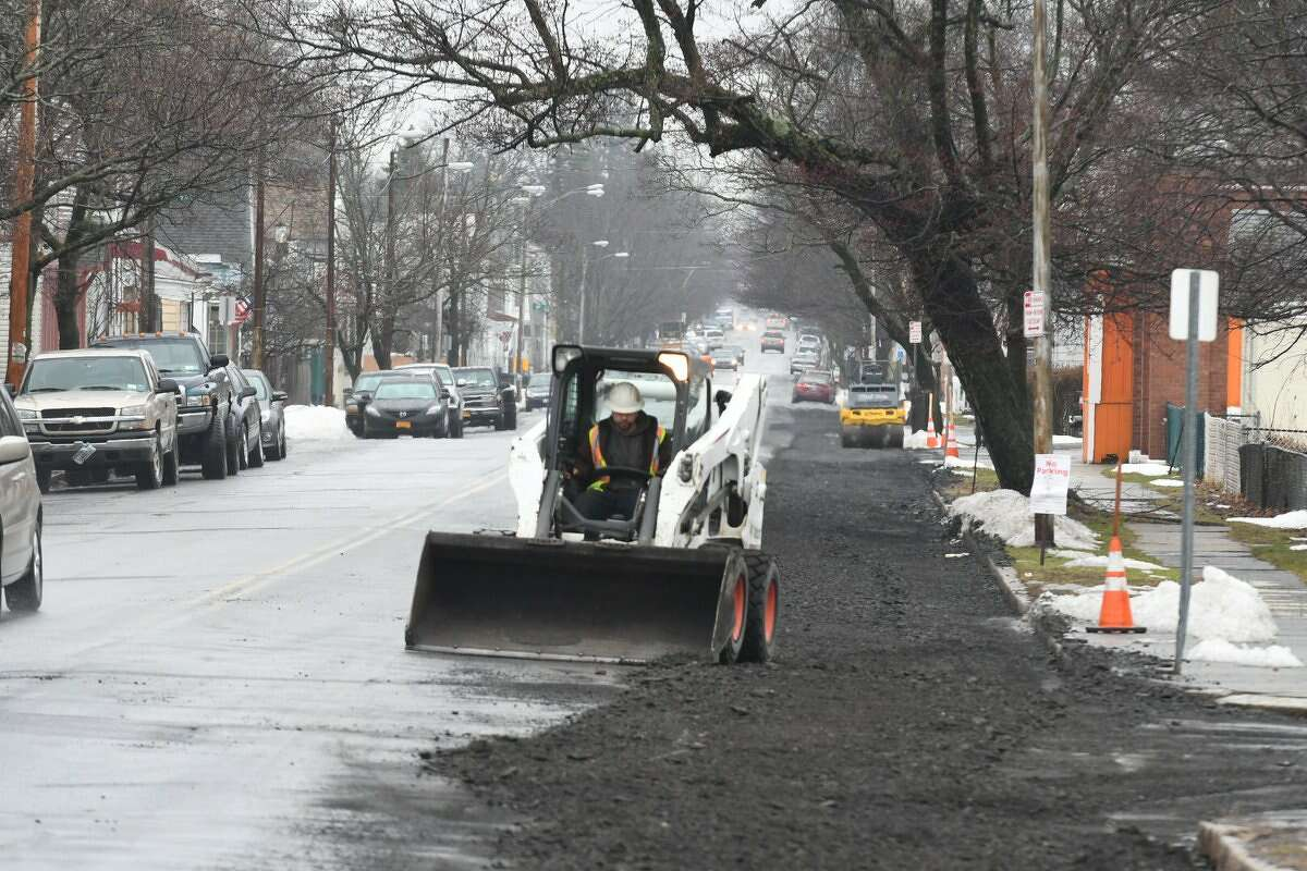 Work began Monday, March 27, 2017, in Troy to replace a mile-long section of a major water main that burst in 2016, disrupting regional water supplies before it was repaired. (Will Waldron/Times Union)