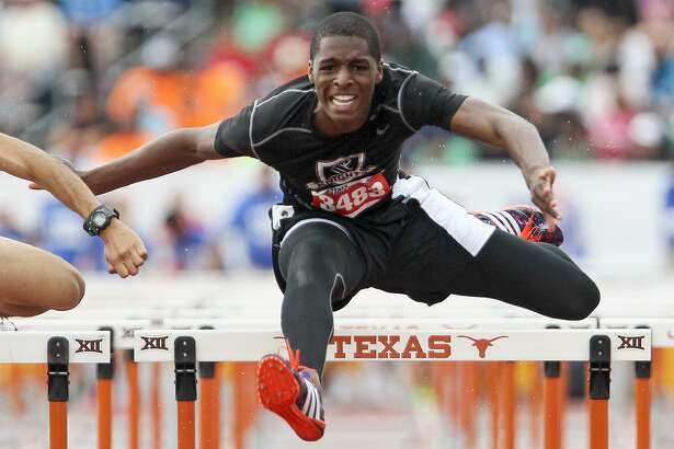 Steele's J.T. Woods clears the final hurdle in the 6A boys 110-meter event at the UIL State Track and Field Championships at Myers Stadium in Austin on May 14, 2016.