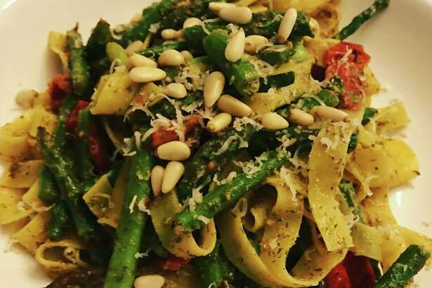 Making pesto from fennel fronds produces a fine pesto that covers your pasta or veggies fairly evenly with a dusting of of the chopped up fronds. The flavor works wonderfully with asparagus.