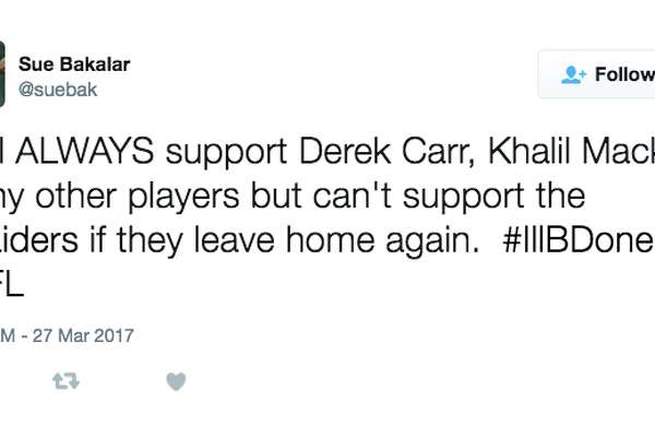 Twitter users react to news that the Raiders will pursue a move to Las Vegas.