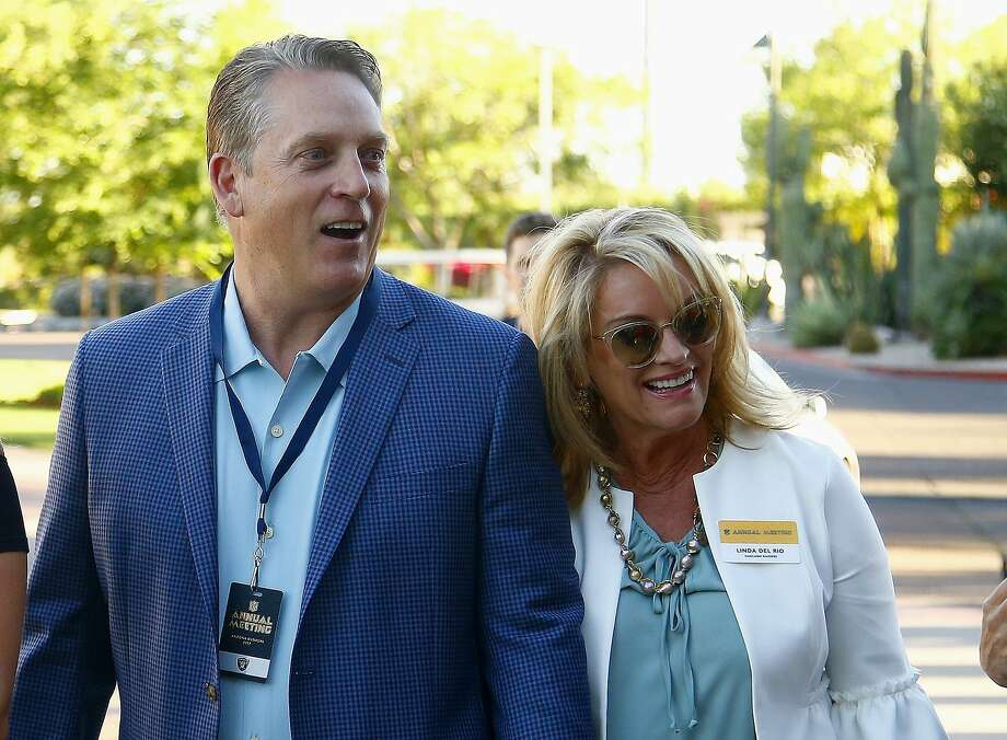 Oakland Raiders coach Jack Del Rio, left, and Linda Del Rio arrive for the start of the NFL football annual meetings Sunday, March 26, 2017, in Phoenix. (AP Photo/Ross D. Franklin) Photo: Ross D. Franklin, Associated Press