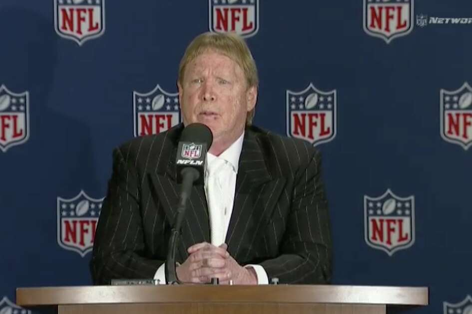 Oakland Raiders owner Mark Davis speaks at a press conference on Monday, March 27, 2017 after NFL owners approve the team moving to Las Vegas.