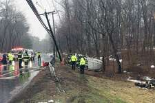 Block Rock Turnpike in Fairfield, Conn. was closed Monday, March 27 after a truck pulled down wires along the road.