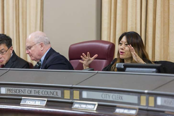 Fiona Ma, chair of the California Board of Equalization, speaks as the Cannabis Banking Working Group hears proposals for giving marijuana businesses access to deposit and payment accounts, currently hard for them to access because of federal anti-money-laundering laws that target drug-related revenues during a meeting, Monday, March 27, 2017 in Oakland, CA.