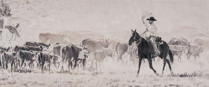 "Foster High's Alexander Chzhanov had his Monochromatic Drawing picked as Class Champion. His work ""Flank Rider"" brought $77,000 in the auction."