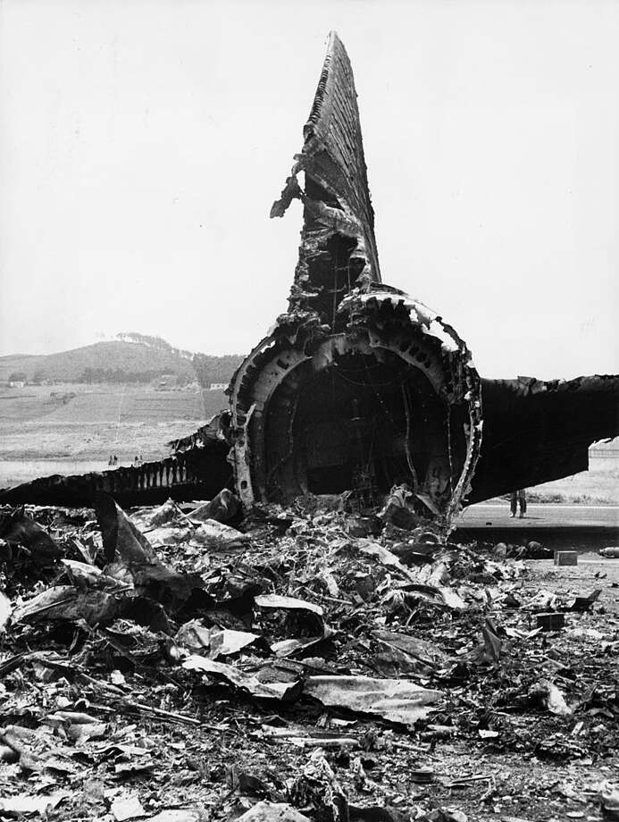 31st March 1977: The remains of a Pan-Am747 Jumbo Jet tail section on the runway at Santa Cruz Airport in Tenerife. The plane collided with KLM 747 Jumbo in fog and 562 people were killed. (Photo by Central Press/Getty Images) Photo: Central Press, Getty Images