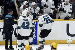 San Jose Sharks center Logan Couture (39) skates off the ice after being injured during second period of an NHL hockey game against the Nashville Predators Saturday, March 25, 2017, in Nashville, Tenn. (AP Photo/Mark Zaleski)