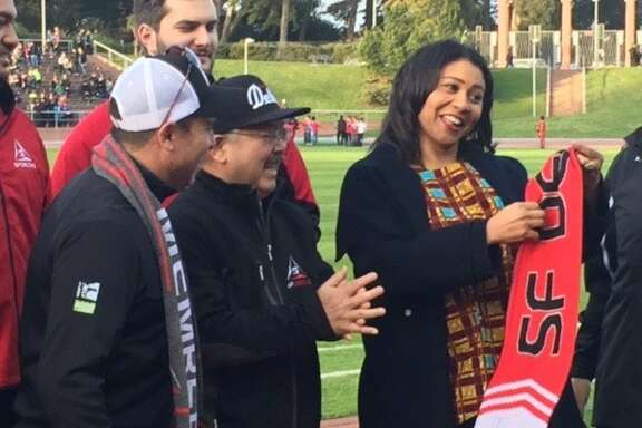 Rec & Park chief Phil Ginsburg, Mayor Ed Lee, Supervisor London Breed at opening game of SF Deltas