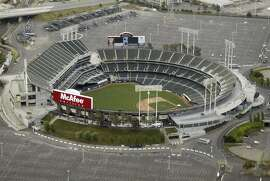 Oakland Athletics and Oakland Raiders home, McAfee Coliseum. aerial