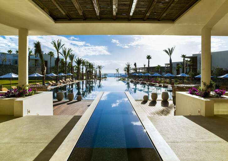 The three-tiered, 150-yard pool at Chileno Bay Resort and Residences offers separate areas for children, families and adults.