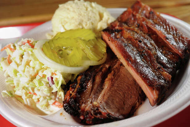 Ribs, brisket, potato salad and coleslaw at Bar-H Country Store & Bar-B-Q in Fannett. Photo taken Tuesday, October 07, 2014 Guiseppe Barranco/@spotnewsshooter