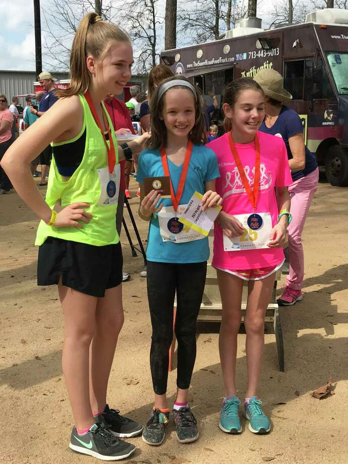The leaders in the girls age 12 and under group are Madison Barnette, third; Sienna Caveney, first, and Sarah Rothe, third. Photo: Submitted Photo