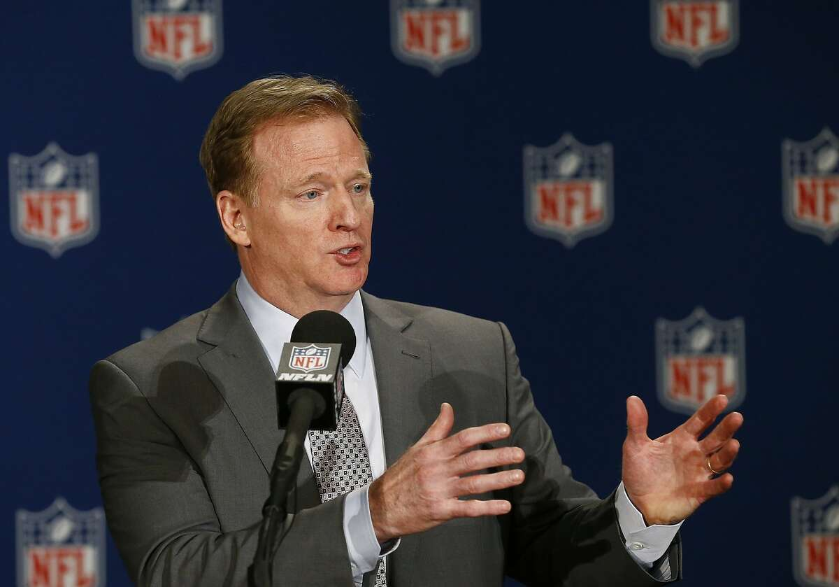 NFL Commissioner Roger Goodell talks about the NFL football owners approving the move of the Oakland Raiders to Las Vegas during a news conference at the NFL owners meetings Monday, March 27, 2017, in Phoenix. (AP Photo/Ross D. Franklin)