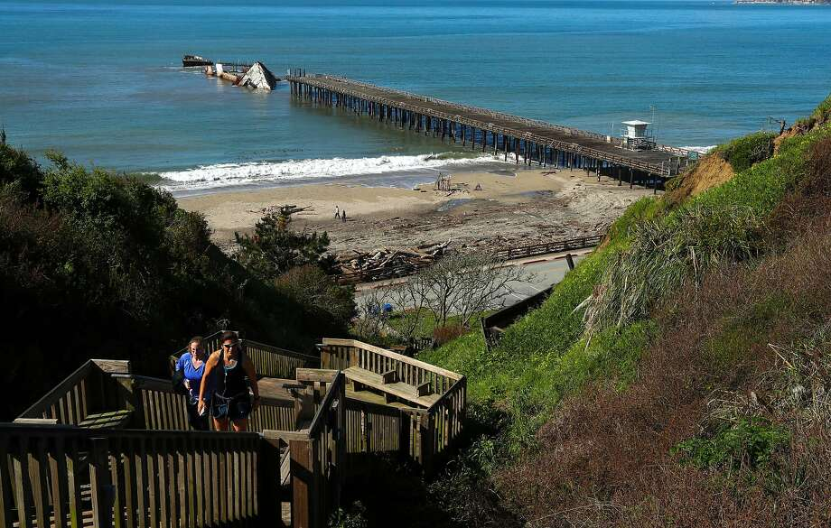 The SS Palo Alto, is seen just offshore broken apart at the end of the pier at Seacliff State Beach, in Aptos. Photo: Michael Macor / The Chronicle
