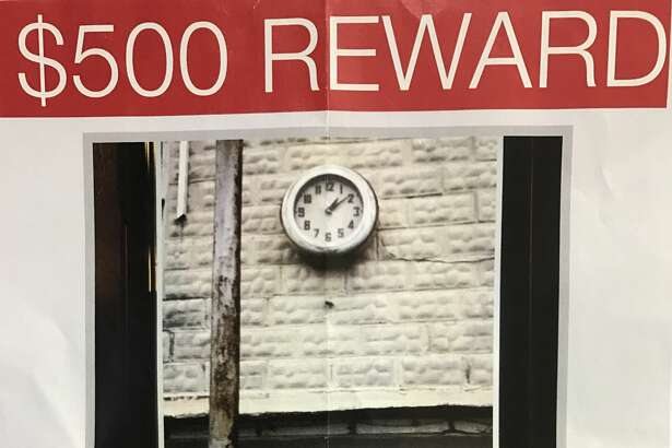 """A $500 reward is being offered for the return of a """"historic landmark"""" taken from a building in Daisetta, according to the Liberty County Sheriff's Office. The clock, stolen earlier this month, has decorated 405 Main Street since the 1940s."""