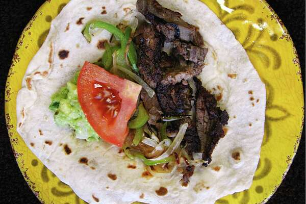 Beef fajita taco on a handmade flour tortilla from Camila's Mexican Restaurant on Henderson Pass.