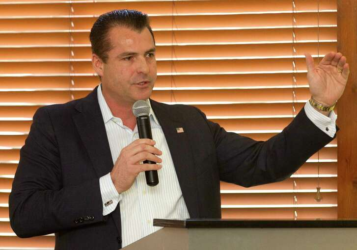 Gordy Bunch, chairman of The Woodlands Township Board of Directors, speaks during a recent community meeting.