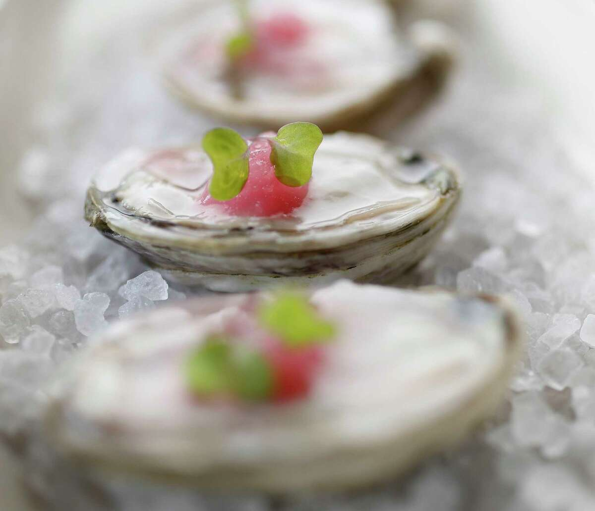 Massacre Island oysters with pickled granita at Riel.