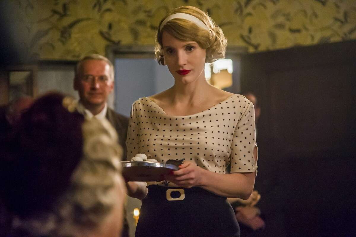 """This image released by Focus Features shows Jessica Chastain in a scene from """"The Zookeeper's Wife."""" (Anne Marie Fox/Focus Features via AP)"""