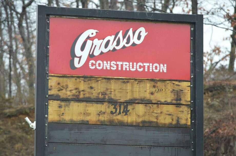 The sign at Grasso Construction Co. on Wilson Avenue in Norwalk. Photo: Alex Von Kleydorff / Hearst Connecticut Media / Norwalk Hour