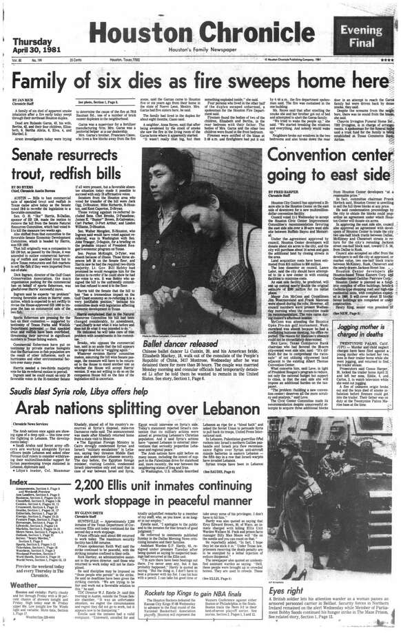 Houston Chronicle front page -April 30, 1981 - section 1, page 1.  Ballet dancer released Photo: HC Staff / Houston Chronicle