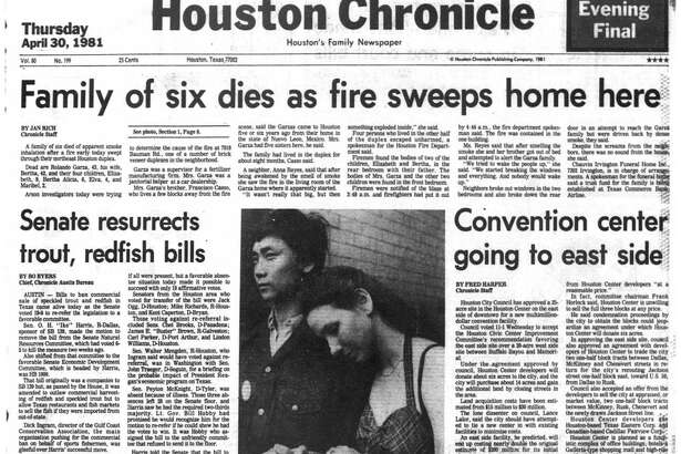 Houston Chronicle front page -April 30, 1981 - section 1, page 1.  Ballet dancer released