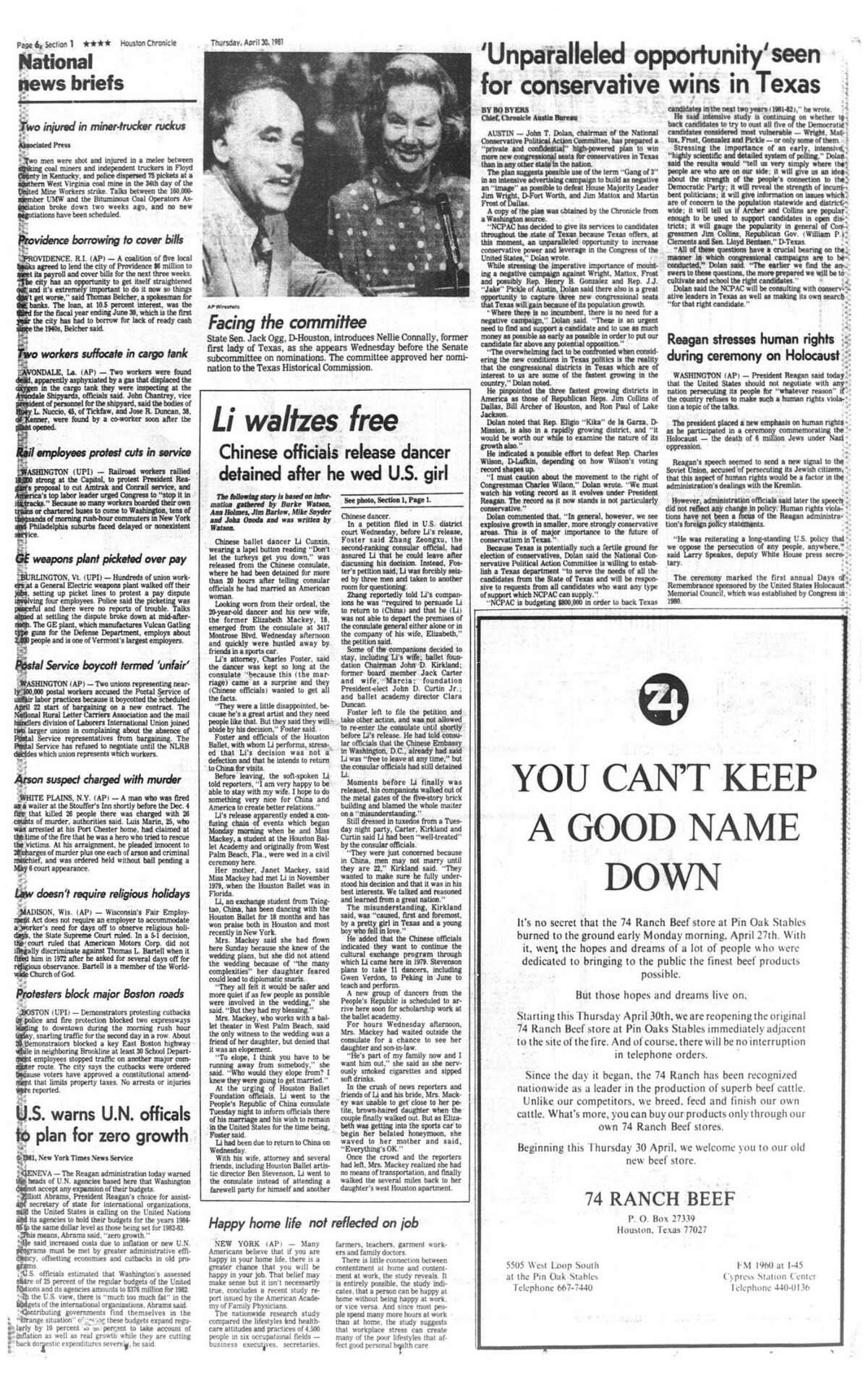 Houston Chronicle inside page - April 30, 1981 - section 1, page 6. Li waltzes free. Chinese officials release dancer detained after he wed U.S. girl