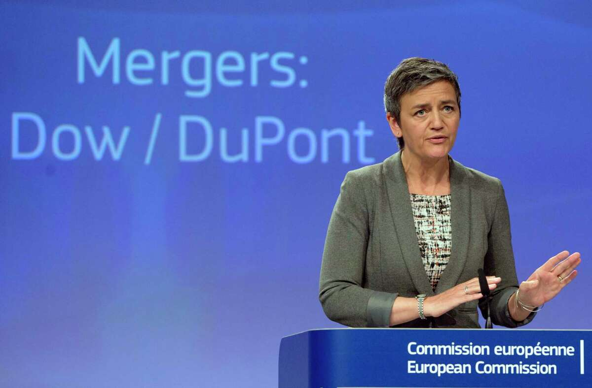 European Commissioner for Competition Margrethe Vestager speaks during a media conference at EU headquarters in Brussels on Monday, March 27, 2017. The European Union has approved the proposed merger of Dow Chemical and Du Pont, saying that the companies' commitments to divest businesses have addressed its concerns. (AP Photo/Virginia Mayo) ORG XMIT: VLM118
