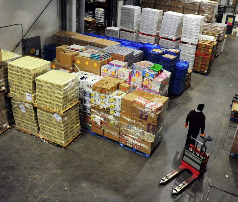 One part of the Regional Food Bank warehouse in Colonie, N.Y., from which thousands of pounds of fresh and non-perishable food is distributed to 23 New York counties each day. (Robert Downen/Times Union)
