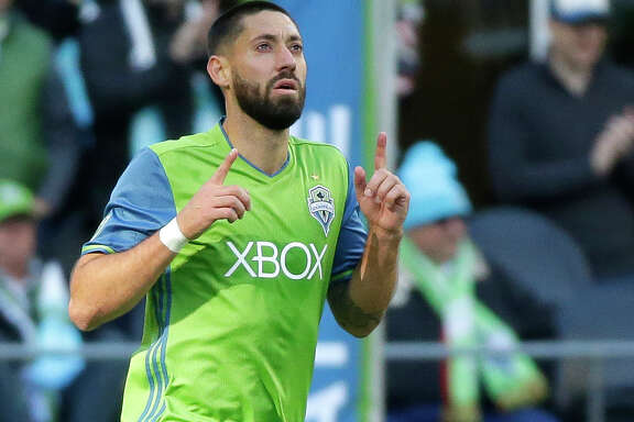Seattle Sounders forward Clint Dempsey celebrates after he scored a goal against the New York Red Bulls during the first half of an MLS soccer match, Sunday, March 19, 2017, in Seattle. (AP Photo/Ted S. Warren)