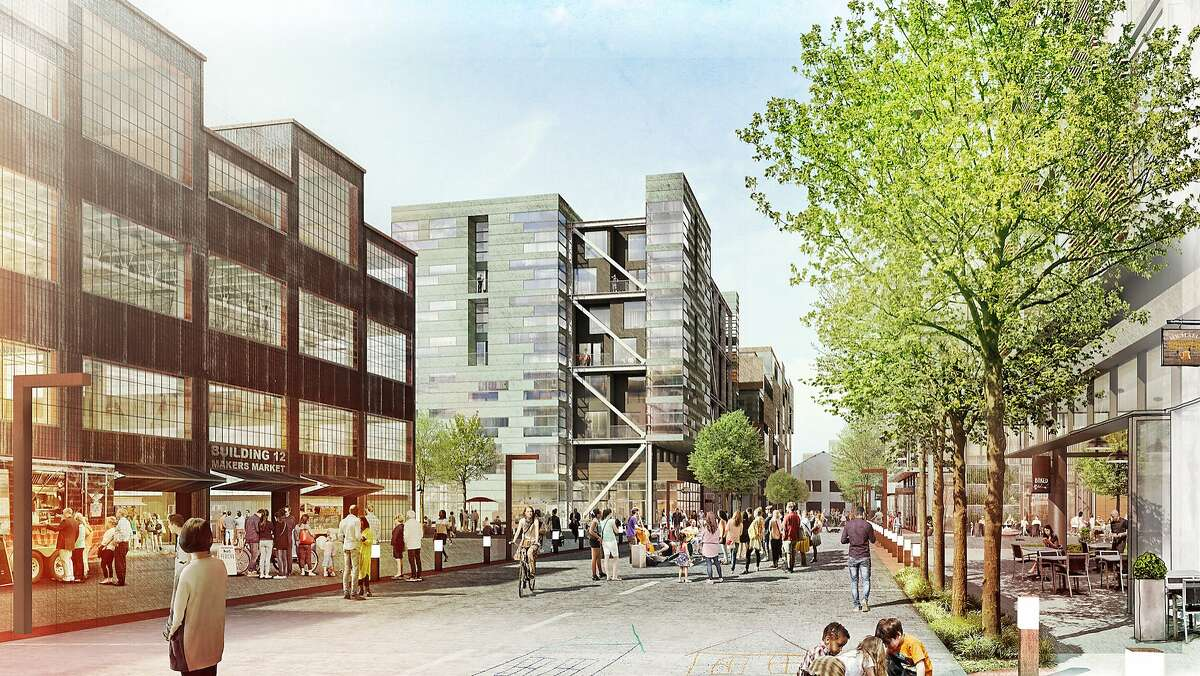 A conceptual rendering of how Maryland Street in San Francisco's Pier 70 district might someday look. The would-be developers of 35 acres in the former industrial zone east of Dogpatch hope to win approvals this summer from the city's Planning Commission.