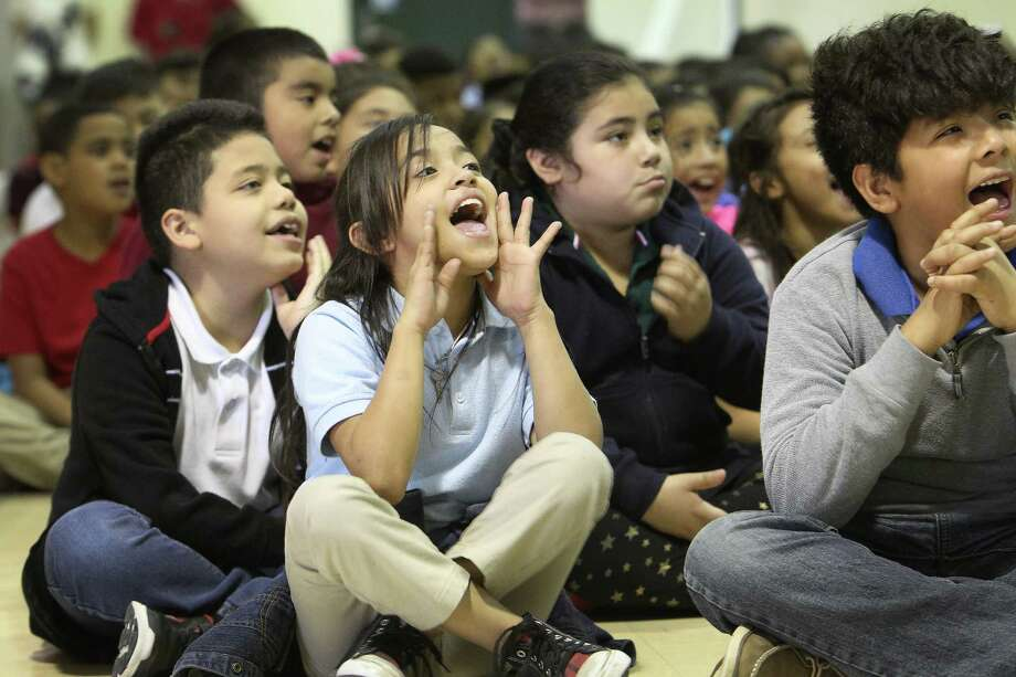 Students at Tinsley Elementary reacting to a visit from Texans' TORO and Texans' LB Brian Peters Wednesday, March 22, 2017, in Houston. Students were preparing to take Texas' STAAR standardized test. TORO and Texans LB Brian Peters were interacting with the students to show them how to prepare for the STAAR test. Photo: Steve Gonzales, Houston Chronicle / © 2017 Houston Chronicle